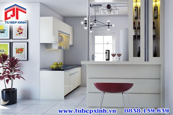 tủ bếp acrylic có đảo bếp BC3