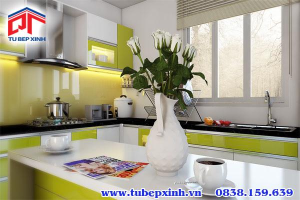 tủ bếp acrylic có đảo bếp BC9