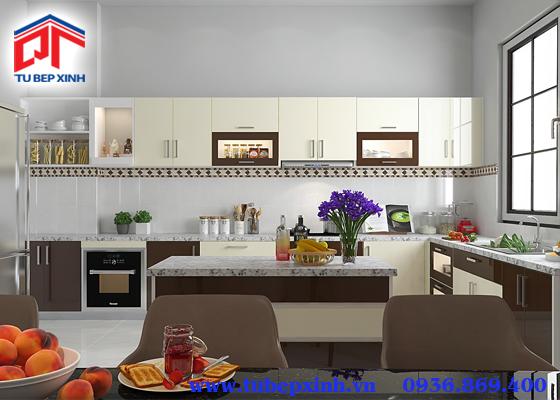 mẫu tủ bếp acrylic - TBX114